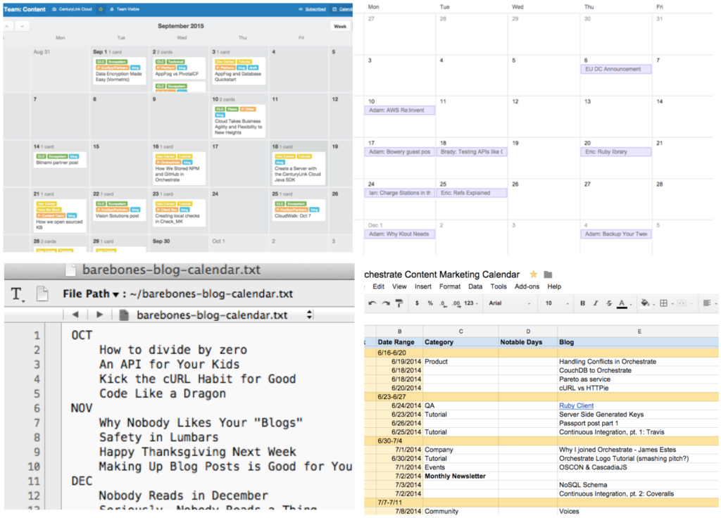 Editorial calendars: the tool doesn't matter